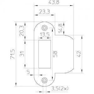 Sluitplaat loop verzinkt P1255 ronde hoek