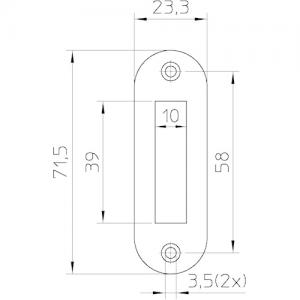 Sluitplaat kast P1256 ronde hoek